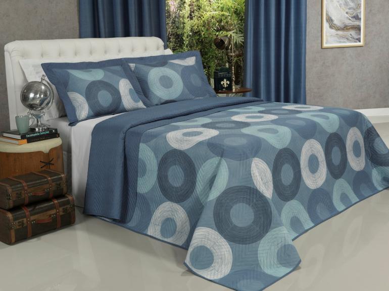 Kit: 1 Cobre-leito Casal Bouti de Microfibra Ultrasonic Estampada + 2 Porta-travesseiros - Atlanta Azul - Dui Design