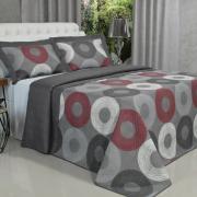 Kit: 1 Cobre-leito Casal Bouti de Microfibra Ultrasonic Estampada + 2 Porta-travesseiros - Atlanta Cinza - Dui Design