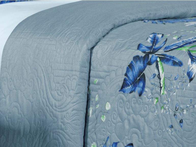 Kit: 1 Cobre-leito Solteiro Bouti de Microfibra Ultrasonic Estampada + 1 Porta-travesseiro - Atlantica Azul Porcelana - Dui Design