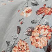 Jogo de Cama Queen Percal 200 fios - Audrey Cinza e Vermelho - Dui Design
