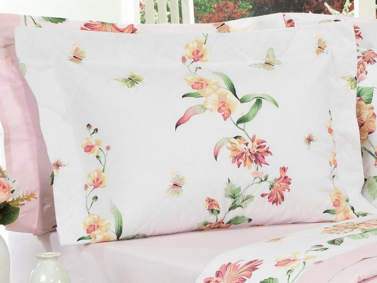 Kit: 1 Cobre-leito Queen + 2 Porta-travesseiros Percal 200 fios - Audrey Rosa - Dui Design