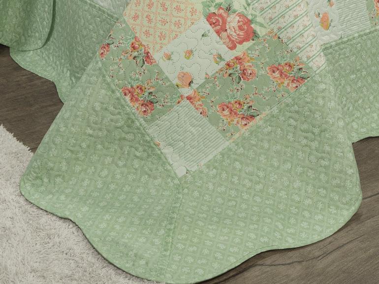Kit: 1 Cobre-leito Casal Bouti de Microfibra Ultrasonic Estampada + 2 Porta-travesseiros - Augusta Verde - Dui Design