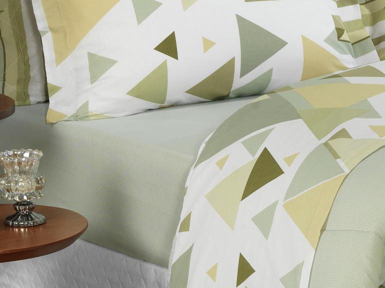 Jogo de Cama Queen Percal 180 fios - Austin Verde - Dui Design