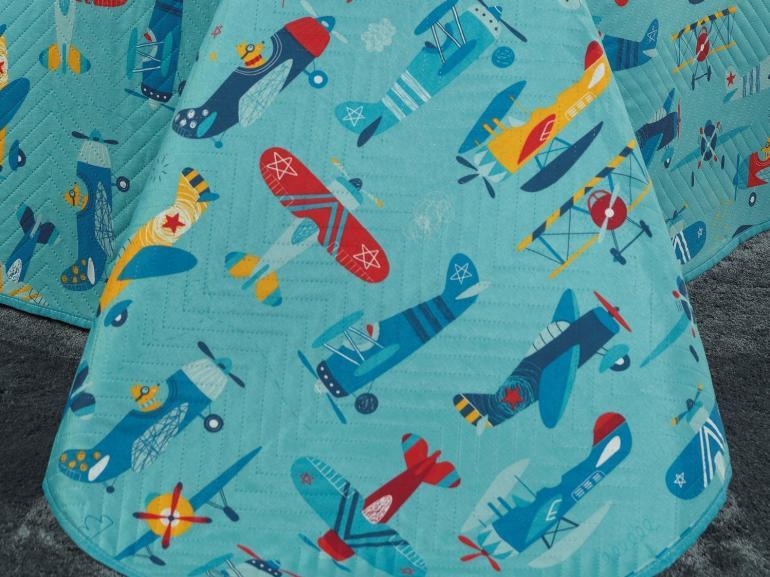 Kit: 1 Cobre-leito Casal Kids Bouti de Microfibra PatchWork Ultrasonic + 2 Porta-travesseiros - Aviões Azul - Dui Design