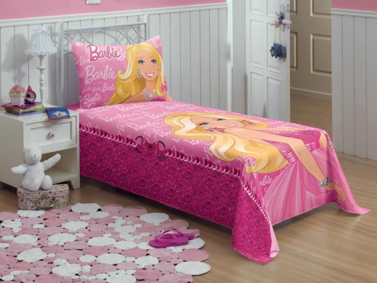 c35f541889 Jogo de Cama Solteiro Infantil 150 fios 100% Algodão - Barbie - Lepper