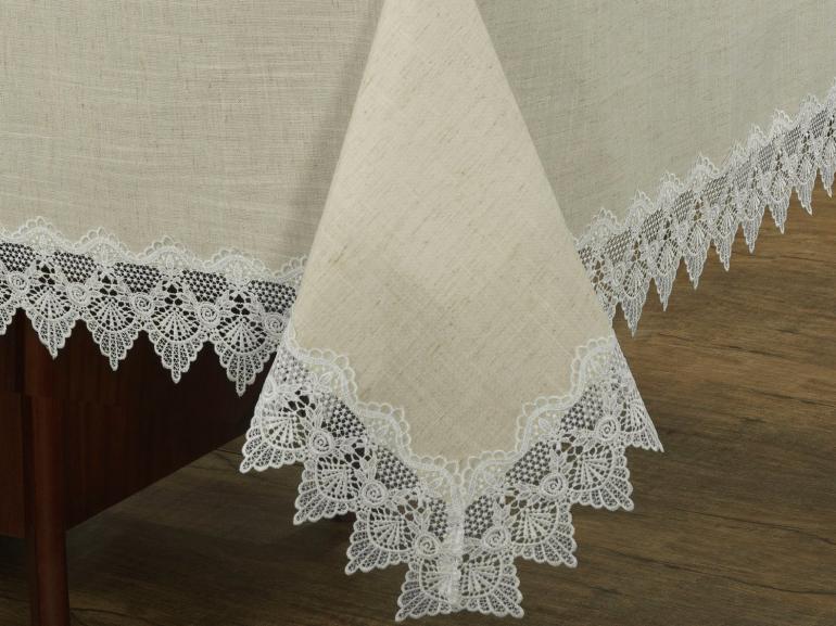 Toalha de Mesa de Linho com Bordado Guipir Quadrada 4 Lugares 160x160cm - Bari Linho e Natural - Dui Design
