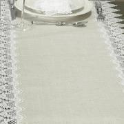Trilho de Mesa de Linho com Bordado Guipir 45x170cm Avulso - Bari Linho e Natural - Dui Design