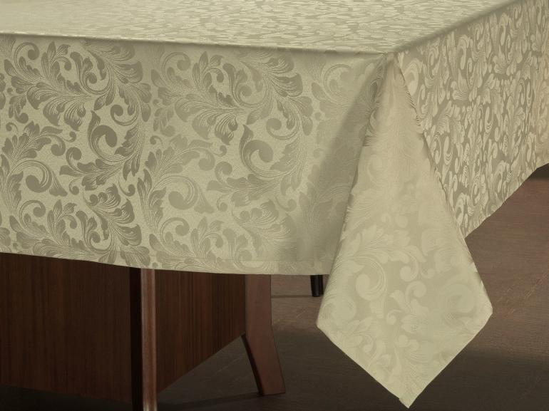 Toalha de Mesa Fácil de Limpar Retangular 6 Lugares 160x220cm - Baroque Bege - Dui Design