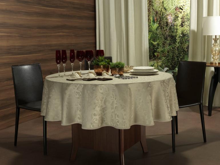 Toalha de Mesa Fácil de Limpar Redonda 220cm - Baroque Bege - Dui Design