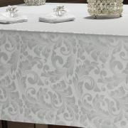 Toalha de Mesa Fácil de Limpar Retangular 6 Lugares 160x220cm - Baroque Branco - Dui Design
