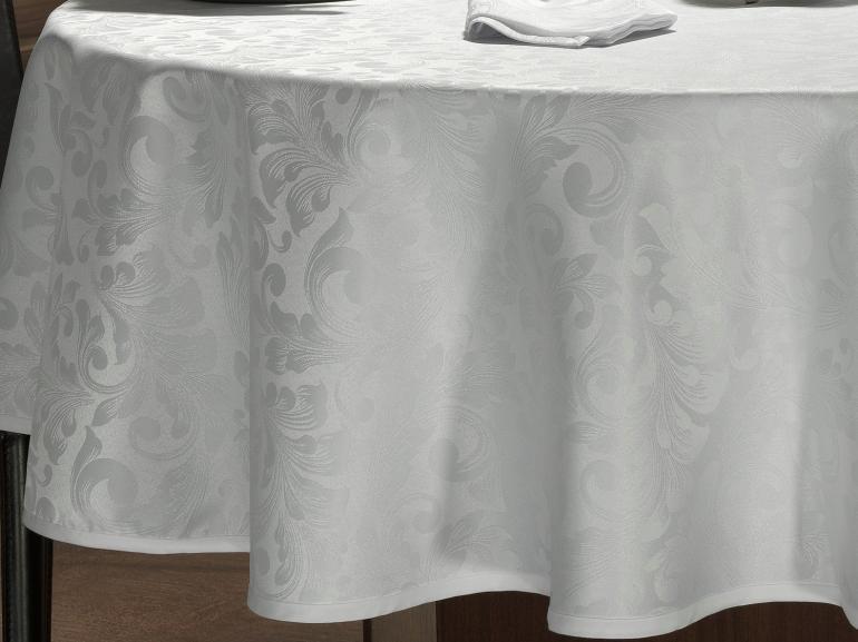 Toalha de Mesa Fácil de Limpar Redonda 220cm - Baroque Branco - Dui Design