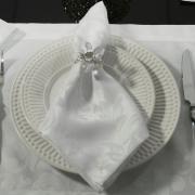 Kit: 4 Guardanapos 50x50cm - Baroque Branco - Dui Design