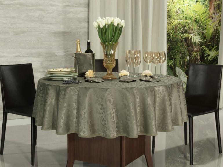 Toalha de Mesa Fácil de Limpar Redonda 220cm - Baroque Fendi - Dui Design