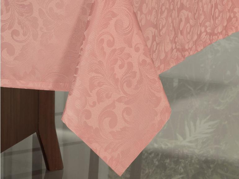 Toalha de Mesa Fácil de Limpar Retangular 6 Lugares 160x220cm - Baroque Rosa Velho - Dui Design