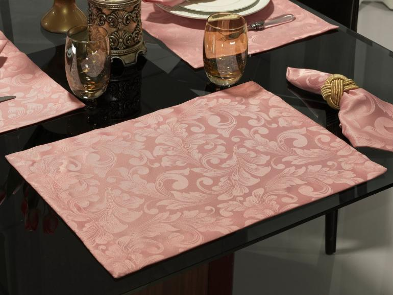 Jogo Americano 4 Lugares (4 peças) Fácil de Limpar 35x50cm - Baroque Rosa Velho - Dui Design