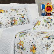 Kit: 1 Cobre-leito Casal Kids Bouti de Microfibra PatchWork Ultrasonic + 2 Porta-travesseiros - Bartolomeu - Dui Design