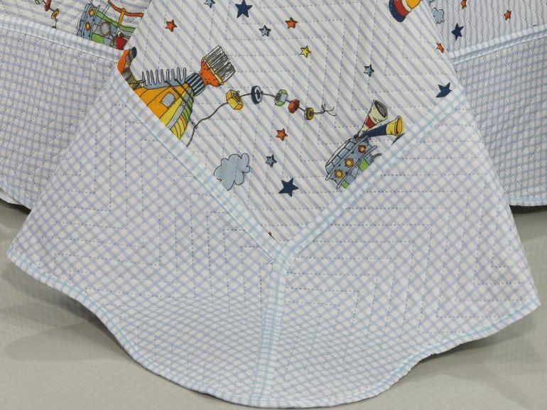 Kit: 1 Cobre-leito Solteiro Kids Bouti de Microfibra PatchWork Ultrasonic + 1 Porta-travesseiro - Bartolomeu - Dui Design