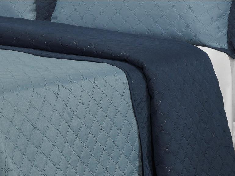 Kit: 1 Cobre-leito Solteiro Bouti de Microfibra Ultrasonic + 1 Porta-travesseiro - Basic Denin - Dui Design