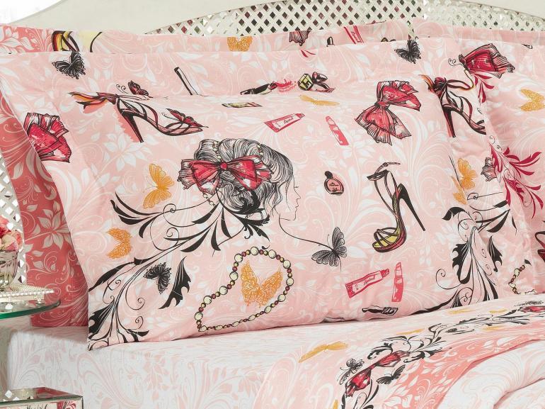 Kit: 1 Cobre-leito Solteiro Kids + 1 Porta-travesseiro Percal 180 fios - Be Fashion Nude - Dui Design