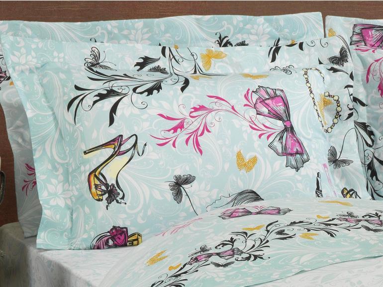 Jogo de Cama Solteiro Percal 180 fios - Be Fashion Turquesa - Dui Design