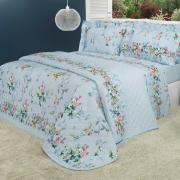 Kit: 1 Cobre-leito Solteiro + 1 Porta-travesseiro Percal 200 fios - Beatrice Azul - Dui Design
