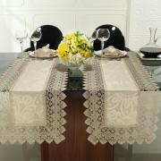Trilho de Mesa com Bordado Guipir Fácil de Limpar 45x170cm Avulso - Beatrice Bege - Dui Design