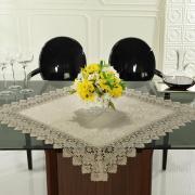 Centro de Mesa com Bordado Guipir Fácil de Limpar 85x85cm Avulso - Beatrice Bege - Dui Design