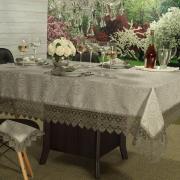 Toalha de Mesa com Bordado Guipir Fácil de Limpar Retangular 10-12 Lugares 160x320cm - Beatrice Bege e Taupe - Dui Design