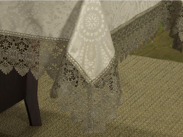 Toalha de Mesa com Bordado Guipir Fácil de Limpar Retangular 6 Lugares 160x220cm - Beatrice Bege e Taupe - Dui Design