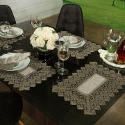 Jogo Americano 4 Lugares (4 peças) com Bordado Guipir Fácil de Limpar 35x50cm - Beatrice Bege e Taupe - Dui Design