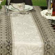 Trilho de Mesa com Bordado Guipir Fácil de Limpar 45x170cm Avulso - Beatrice Bege e Taupe - Dui Design