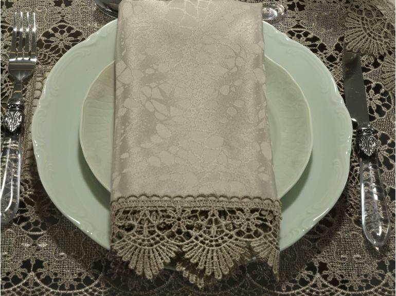 Kit: 4 Guardanapos com Bordado Guipir 50x50cm - Beatrice Bege e Taupe - Dui Design
