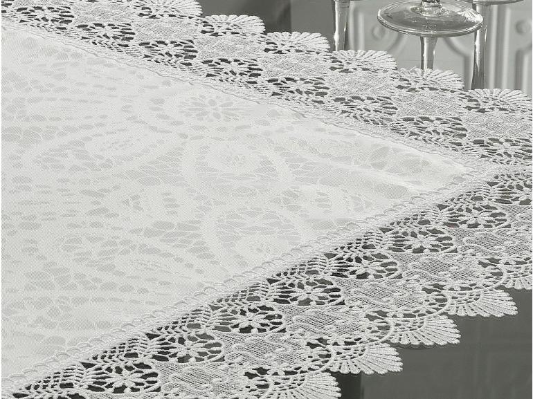 Centro de Mesa com Bordado Guipir Fácil de Limpar 85x85cm Avulso - Beatrice Branco - Dui Design
