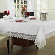 Toalha de Mesa com Bordado Guipir Fácil de Limpar Retangular 8 Lugares 160x270cm - Beatrice Branco - Dui Design