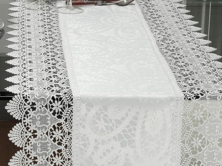 Trilho de Mesa com Bordado Guipir Fácil de Limpar 45x170cm Avulso - Beatrice Branco - Dui Design