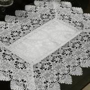 Jogo Americano 4 Lugares (4 peças) com Bordado Guipir Fácil de Limpar 35x50cm - Beatrice Gelo e Cinza - Dui Design