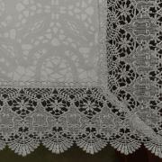 Trilho de Mesa com Bordado Guipir Fácil de Limpar 45x170cm Avulso - Beatrice Gelo e Cinza - Dui Design