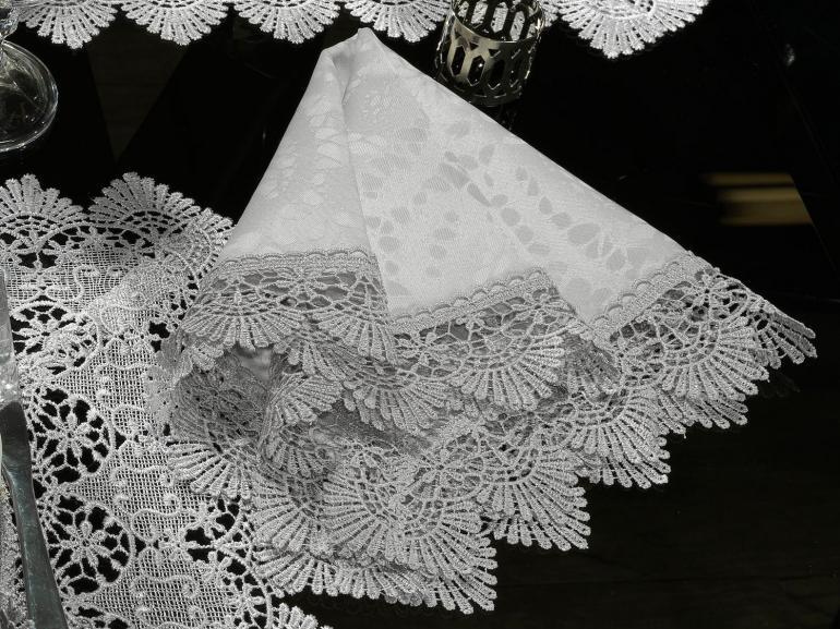 Kit: 4 Guardanapos com Bordado Guipir 50x50cm - Beatrice Gelo e Cinza - Dui Design