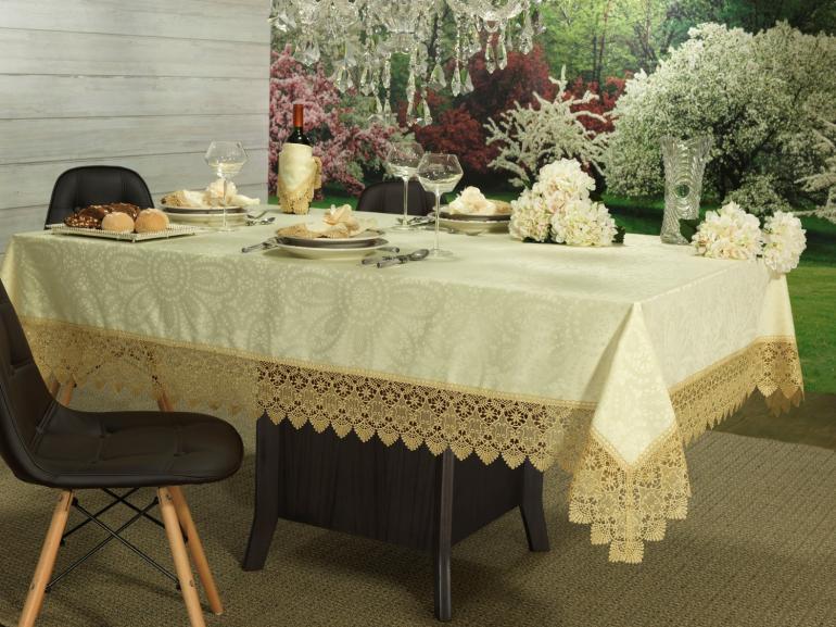 Toalha de Mesa com Bordado Guipir Fácil de Limpar Quadrada 4 Lugares 160x160cm - Beatrice Vanilla - Dui Design