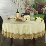 Toalha de Mesa com Bordado Guipir Fácil de Limpar Redonda 180cm - Beatrice Vanilla - Dui Design