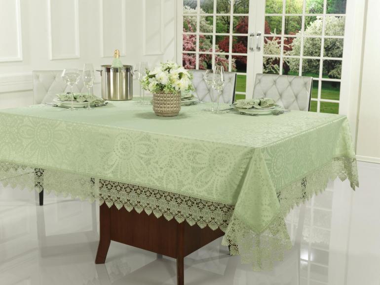 Toalha de Mesa com Bordado Guipir Fácil de Limpar Retangular 8 Lugares 160x270cm - Beatrice Verde Claro - Dui Design