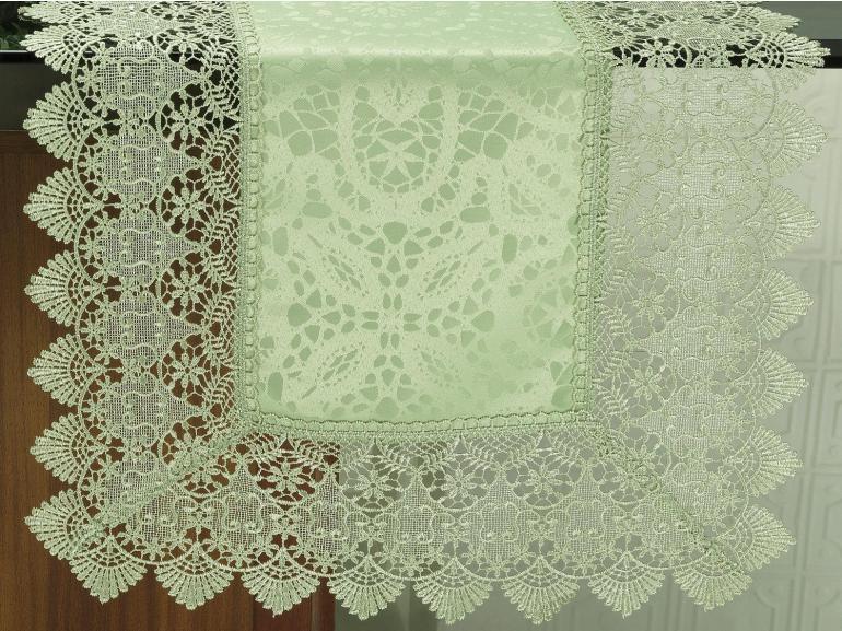 Trilho de Mesa com Bordado Guipir Fácil de Limpar 45x170cm Avulso - Beatrice Verde Claro - Dui Design
