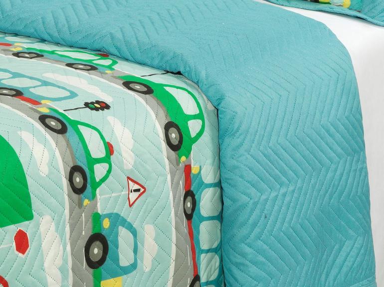 Kit: 1 Cobre-leito Solteiro Kids Bouti de Microfibra PatchWork Ultrasonic + 1 Porta-travesseiro - Beep Beep Azul - Dui Design