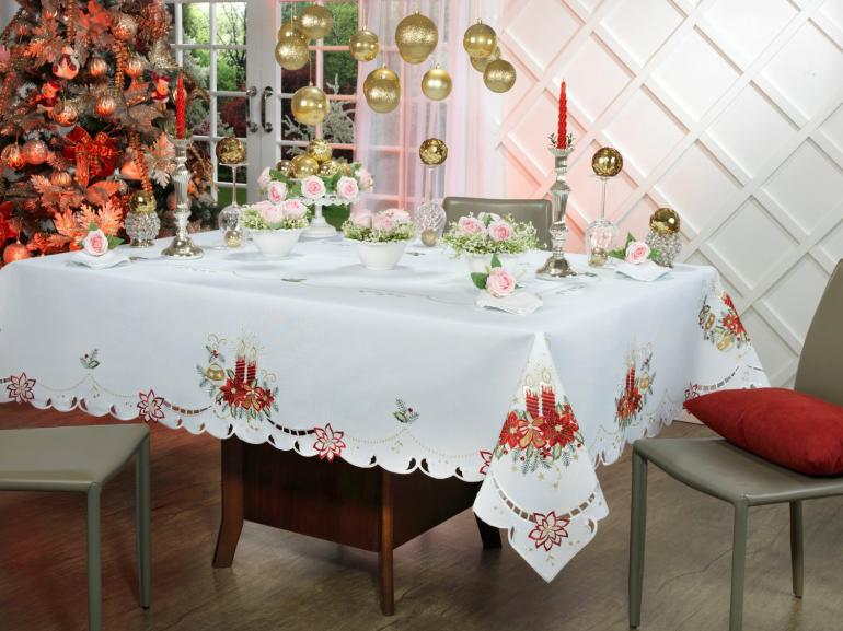 Toalha de Mesa Natal com Bordado Richelieu Quadrada 4 Lugares 160x160cm - Belem Branco - Dui Design