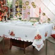Toalha de Mesa Natal com Bordado Richelieu Retangular 8 Lugares 160x270cm - Belem Branco - Dui Design