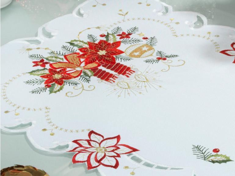 Trilho de Mesa Natal com Bordado Richelieu 40x85cm Avulso - Belem Branco - Dui Design