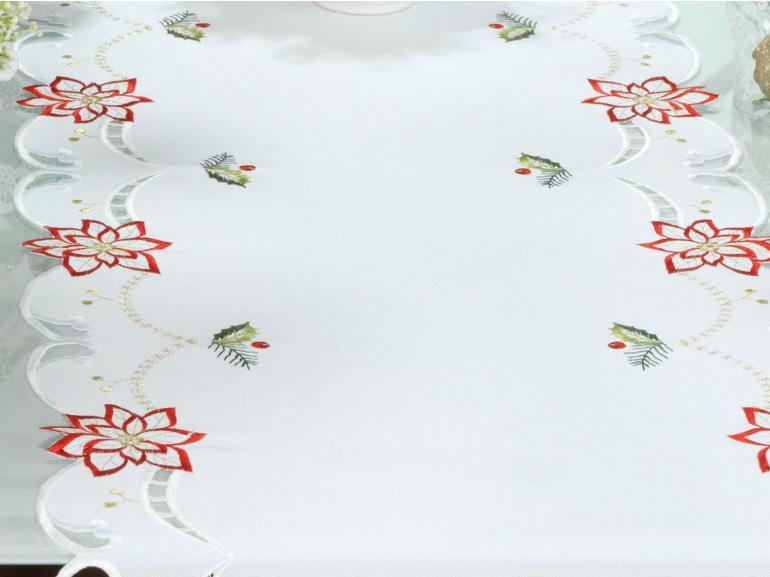 Trilho de Mesa Natal com Bordado Richelieu 45x170cm Avulso - Belem Branco - Dui Design
