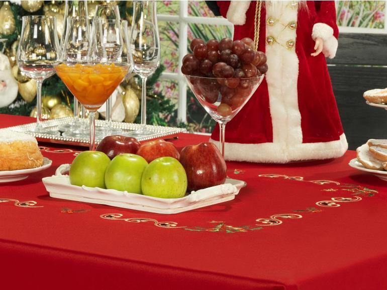 Toalha de Mesa Natal com Bordado Richelieu Quadrada 4 Lugares 160x160cm - Belém Vermelho - Dui Design