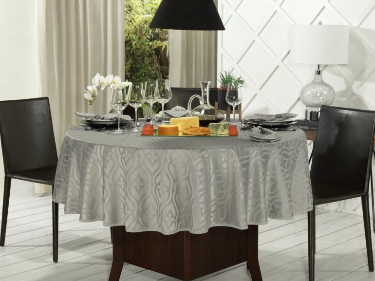 Toalha de Mesa Fácil de Limpar Redonda 220cm - Belgrado Cinza Dove - Dui Design