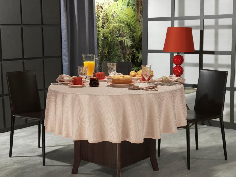 Toalha de Mesa Fácil de Limpar Redonda 220cm - Belgrado Rosa Velho - Dui Design